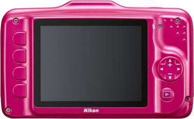 Компактный фотоаппарат Nikon Coolpix S31 Pink - вид сзади