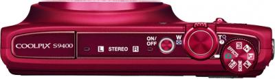 Компактный фотоаппарат Nikon Coolpix S9400 Red - вид сверху