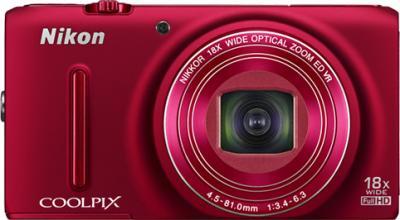 Компактный фотоаппарат Nikon Coolpix S9400 Red - вид спереди