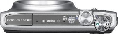 Компактный фотоаппарат Nikon Coolpix S9400 Silver - вид сверху