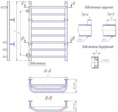 "Полотенцесушитель водяной Gloss & Reiter Лесенка 50х60.Z2.Л2(40) (1/2"") - схема"