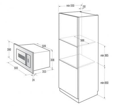 Микроволновая печь Gorenje BM6250ORAX - схема встраивания