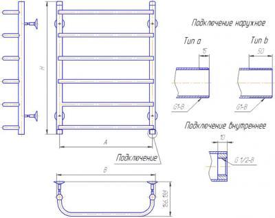 """Полотенцесушитель водяной Gloss & Reiter Лесенка 50x60.С4 (1"""") (с нижним подключением) - схема"""