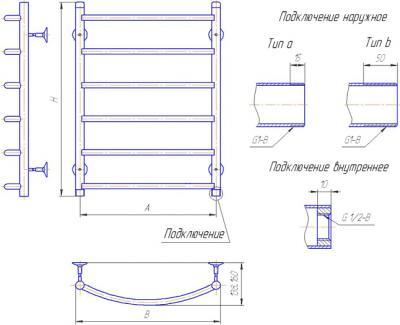 """Полотенцесушитель водяной Gloss & Reiter Лесенка Л.50x80.Д8 (1"""") (с нижним подключением) - схема"""