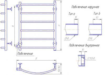 """Полотенцесушитель водяной Gloss & Reiter Лесенка 50x60.Д6 (1"""") (с боковым подключением) - схема"""