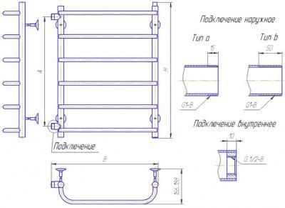 """Полотенцесушитель водяной Gloss & Reiter Лесенка 50x60.С4 (1"""") (с боковым подключением) - схема"""