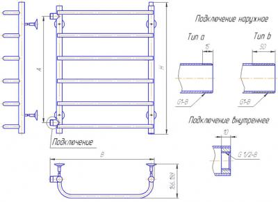 """Полотенцесушитель водяной Gloss & Reiter Лесенка 50х60.С6 (1"""") (с боковым подключением) - схема"""