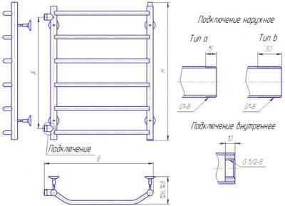 """Полотенцесушитель водяной Gloss & Reiter Terra LeRi. ЛБ. 50x60.Т6 (1"""") - схема"""