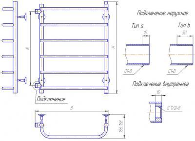 """Полотенцесушитель водяной Gloss & Reiter Лесенка 50x80.C8 (1"""") - схема"""