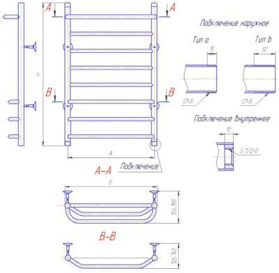 """Полотенцесушитель водяной Gloss & Reiter Лесенка 50х60.С1(25).Л3.Т2 (1"""") - схема"""