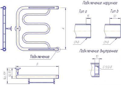 """Полотенцесушитель водяной Gloss & Reiter ПМ-образный 50Х50 (1"""") - схема"""
