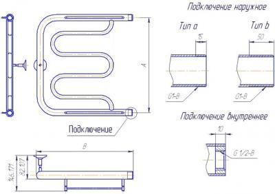 """Полотенцесушитель водяной Gloss & Reiter ПМ-образный 50Х60 (1"""") (без полочки) - схема"""
