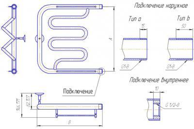 """Полотенцесушитель водяной Gloss & Reiter Twist. ПМ.3. 50x70 (1"""") - схема"""