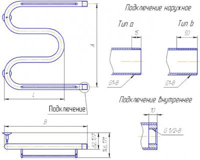 """Полотенцесушитель водяной Gloss & Reiter М-образный 60Х100 (1"""") - схема"""