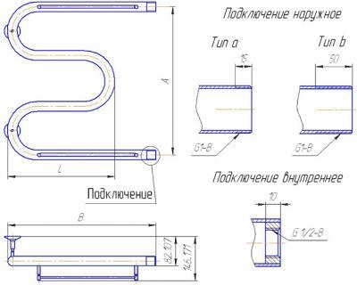 """Полотенцесушитель водяной Gloss & Reiter М-образный с полочкой 50Х80 (1"""") - схема"""