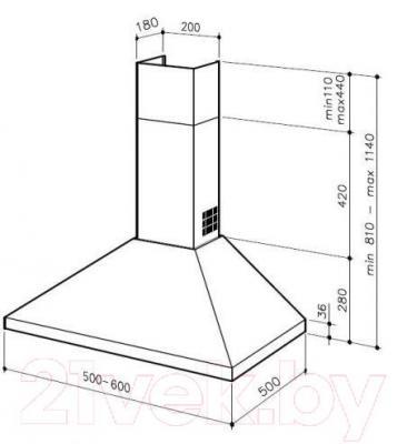 Вытяжка купольная Best K24 50 (нержавеющая сталь) - габаритные размеры