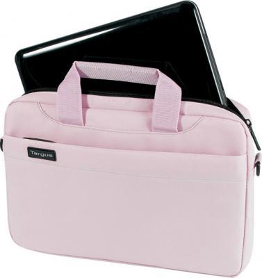 Сумка для ноутбука Targus Slim Netbook Case Pink (TSS18003EU) - вид спереди с нетбуком