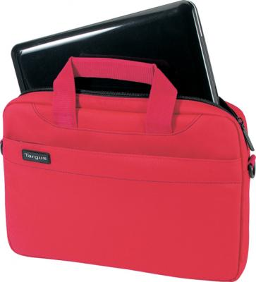 Сумка для ноутбука Targus Slim Netbook Case Red (TSS18004EU) - вид спереди с нетбуком