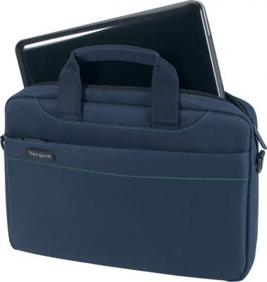Сумка для ноутбука Targus Slim Netbook Case Blue (TSS18005EU) - вид спереди с нетбуком