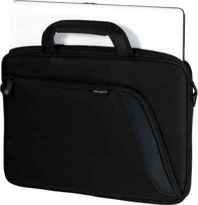 Сумка для ноутбука Targus Eco Spruce Slipcase TBS045EU-51 (черный) - общий вид с ноутбуком