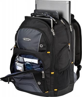 Рюкзак для ноутбука Targus Drifter Backpack Black (TSB238EU-50) - общий вид с открытым передним карманом и ноутбуком