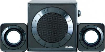Мультимедиа акустика Sven MS-102 (черный) - вид спереди