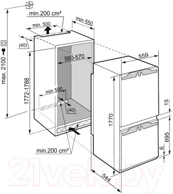 Холодильник с морозильником Liebherr ICBN 3314 - схема установки