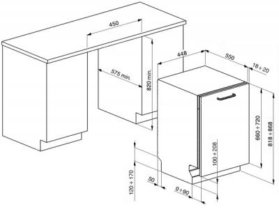 Посудомоечная машина Smeg STA4503 - схема встраивания