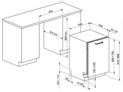 Посудомоечная машина Smeg STA4526 - схема встраивания