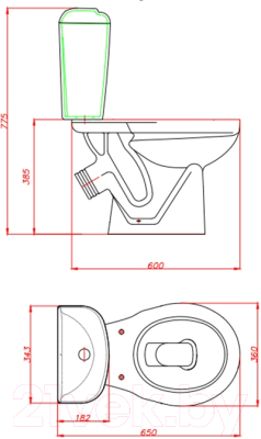 Унитаз напольный Керамин Вита Premium Инкоэр (с полипропиленовым сиденьем)