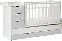 Детская кровать-трансформер СКВ Жираф 540031-212 (белый/серый текстиль) -