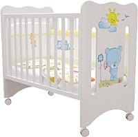 Детская кроватка Laluca Руслана Базовая (белый/медвежонок с цветами) -