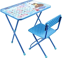 Стол+стул Ника КП2/18 Азбука 4: Маша и Медведь (голубой) -