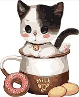 Картина по номерам Menglei Котенок в чашке №1 (MB055) -