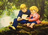 Картина по номерам Truehearted С братом за книгой (HB4050231) -