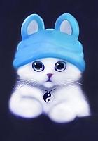 Набор алмазной вышивки Гранни Белый котик в шапочке (Ag 029) -
