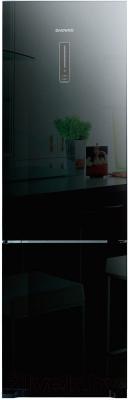 Холодильник с морозильником Daewoo RNV3310GCHB - зеркальная отделка двери