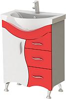 Тумба под умывальник Ювента Briz Б2-65 (красный) -