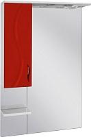 Шкаф с зеркалом для ванной Ювента Briz БШН32-65 (красный, левый) -