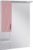 Шкаф с зеркалом для ванной Ювента Briz БШН32-75 (розовый, левый) -