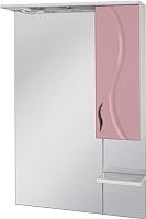 Шкаф с зеркалом для ванной Ювента Briz БШН32-75 (розовый, правый) -