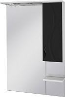 Шкаф с зеркалом для ванной Ювента Briz БШН32-75 (черный, правый) -