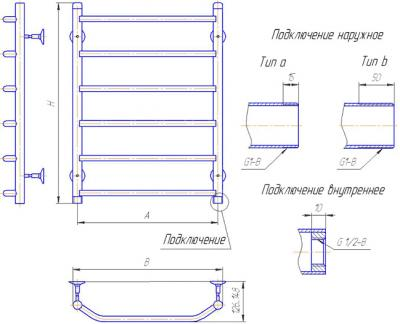 """Полотенцесушитель водяной Gloss & Reiter Лесенка 50х60.Т5 (1/2"""") - схема"""