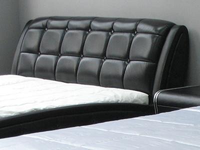 Двуспальная кровать Королевство сна K6662 180х200 (черная) - кожаная обивка изголовья