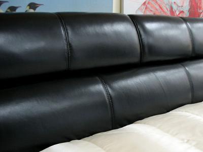 Двуспальная кровать Королевство сна K1377 180х200 (черная) - кожаное изголовье