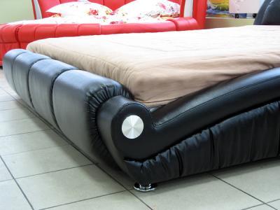 Двуспальная кровать Королевство сна W016 160х200 (черная) - боковины из экокожи