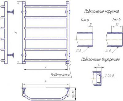 """Полотенцесушитель водяной Gloss & Reiter Terra. Л. 50x120.Т13 (1/2"""") - габаритные размеры"""