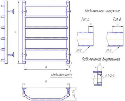 """Полотенцесушитель водяной Gloss & Reiter Лесенка 50х70.Т6 (1"""") (с нижним подключением) - схема"""