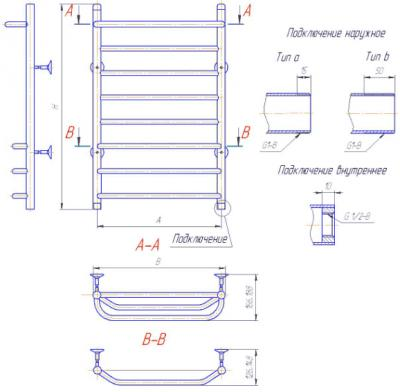 """Полотенцесушитель водяной Gloss & Reiter Лесенка 50x70.С4.Л2 (1/2"""") - схема"""