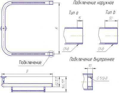 """Полотенцесушитель водяной Gloss & Reiter П-образный 50x70 (1"""") - схема"""